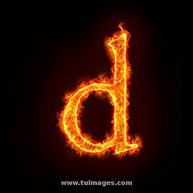 fire alphabets, small letter d