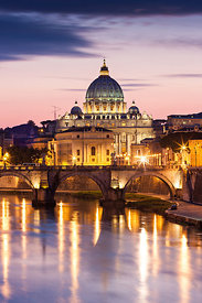 St Peter basilica in the twilight, Rome