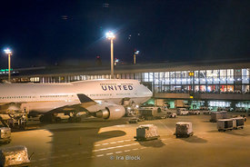 The United Airlines airplane at Tokyo Narita Intl' Airport in Japan.