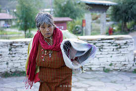 A local woman on the street in Paro District, Bhuta.