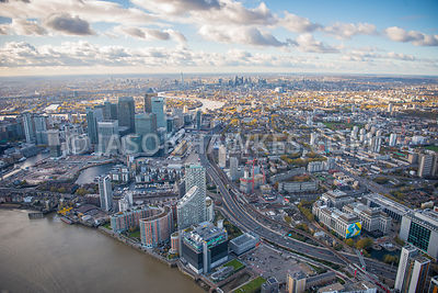 Aerial view of Poplar, Blackwall Basin, Poplar Dock Marina , Radisson Blu Edwardian, New Providence Wharf,  London