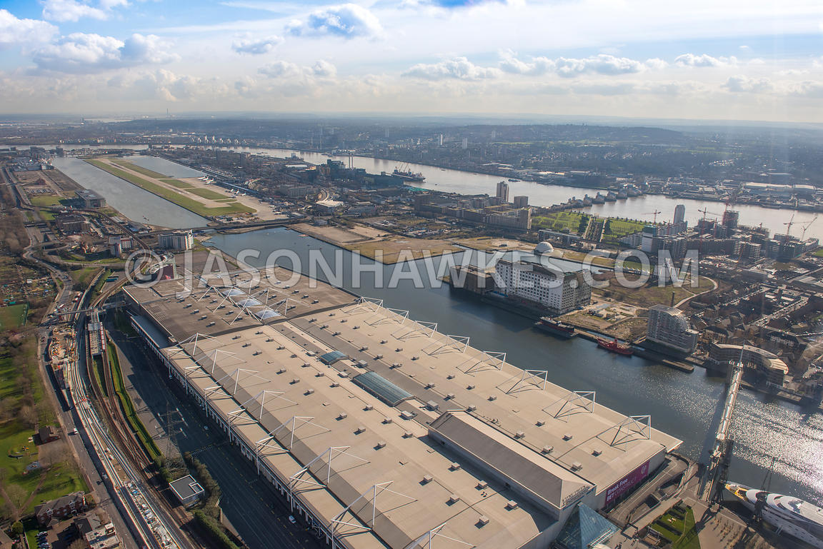 Aerial view of London, Royal Docks towards Thames Barrier.