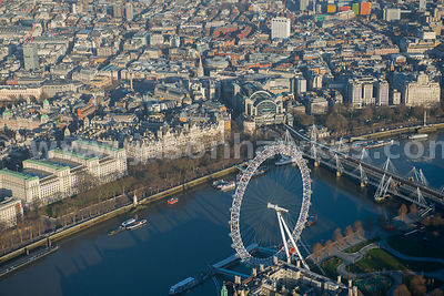 Aerial view of the London Eye, South bank, London