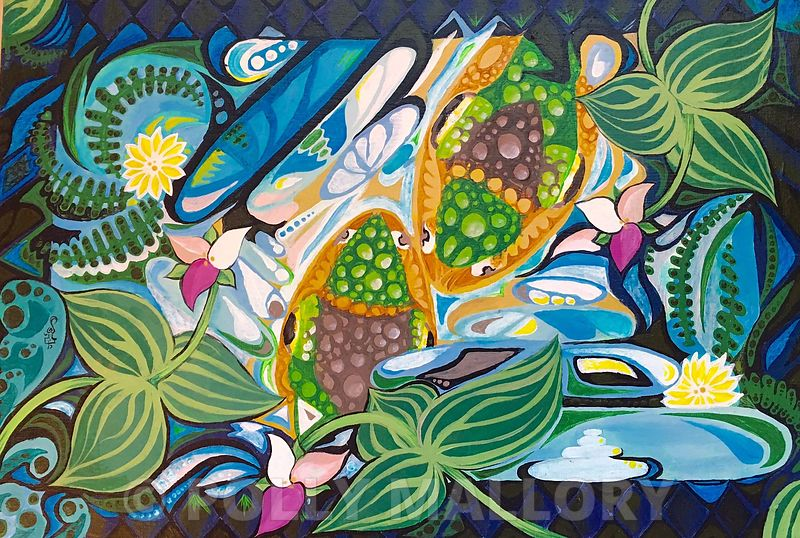 Nadya_Warthen_Gibson._Relaxation_7_Froggies_Kiss._18_x_12_22_acrylic_on_board_ready_to_hang._Retail_250.00_Sale_175.00