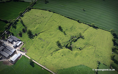 aerial photograph of the disappeared medieval village of Alkmonton  in Derbyshire England UK