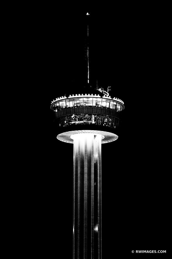 TOWER OF THE AMERICAS SAN ANTONIO TEXAS BLACK AND WHITE