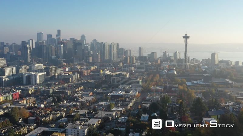 Drone Video Downtown Seattle Washington at Dawn