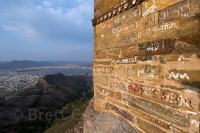 Graffiti on a wall at Taragarh Fort, Ajmer, Rajasthan, India