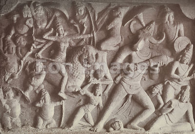 Hindu goddess Durga slaying giants at Mamallapuram