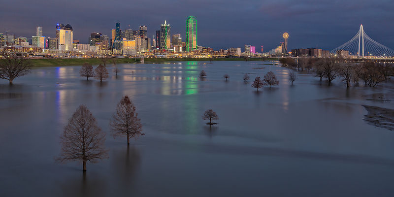 Dallas Skyline Reflections Panorama