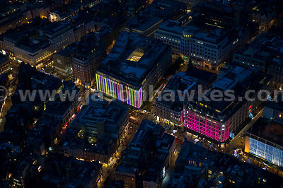 Aerial view of Oxford Street at night, London