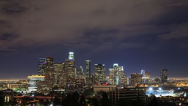 Wide Shot: Night TIme Shot Of Downtown L.A. With A Detailed Deck Of Nimbostratus Clouds