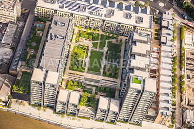 Aerial view of London, Fulham Wharf apartment complex.