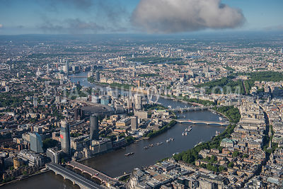 Aerial view of London with Blackfriars and London Eye