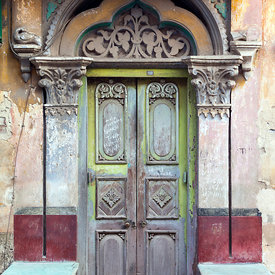 The ancient door of a house