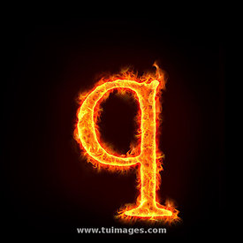 fire alphabets, small letter q