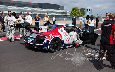 United Autosports' Audi R8 LMS Ultra on the starting grid at the Silverstone 500 - the third round of the British GT Championship 2014 - 1st June 2014