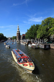 Montelbaanstoren tower and Oudeschans canal, Amsterdam, Netherlands