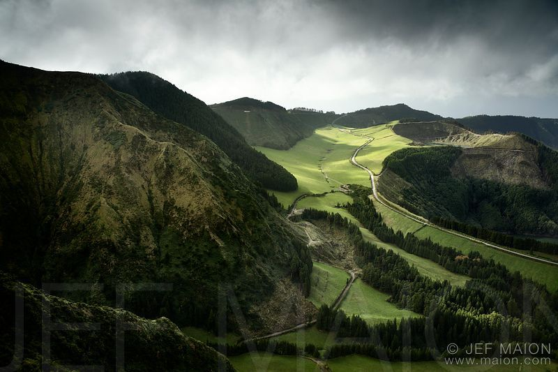 Mountain and green fields