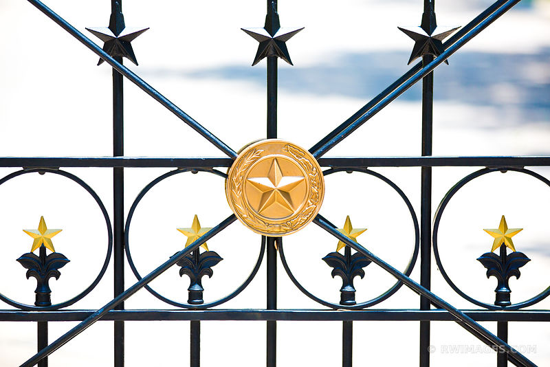 TEXAS GOLD LONE STAR IRON FENCE CAPITOL BUILDING AUSTIN TEXAS