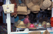 Hat shop at the market, Port Mathurin, Rodrigues