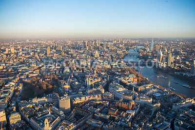 Aerial view of London, Strand with Somerset House towards Temple with River Thames.