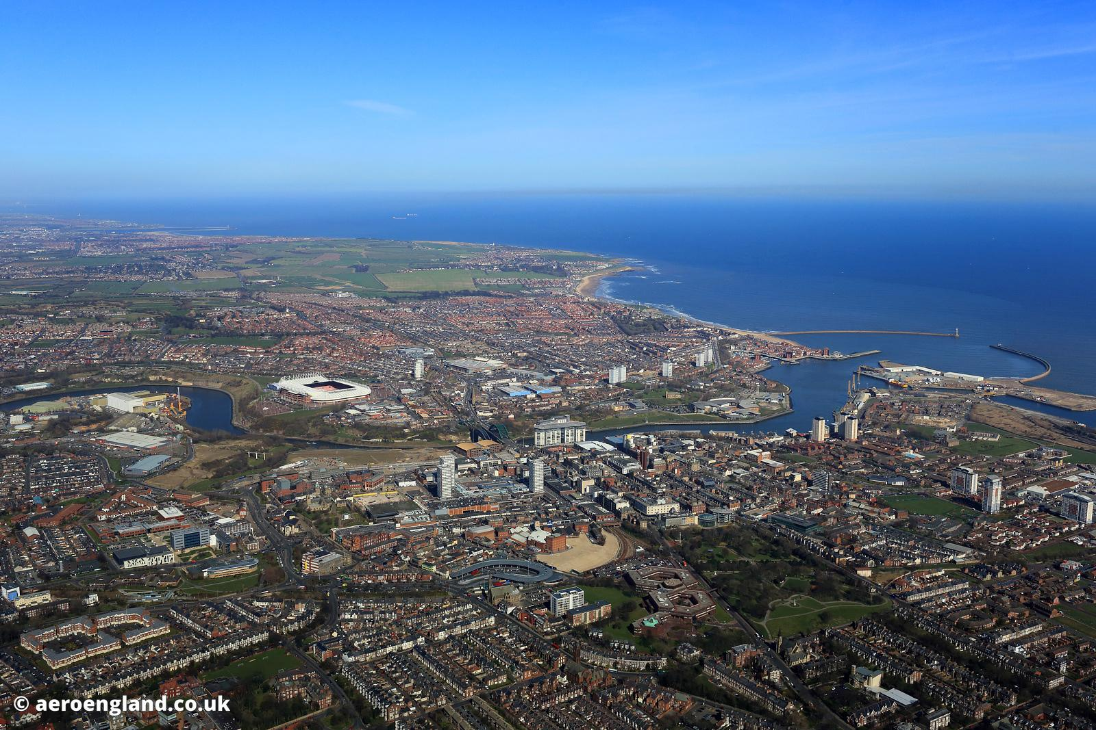aerial photograph of Sunderland Tyne & Wear North East England  UK