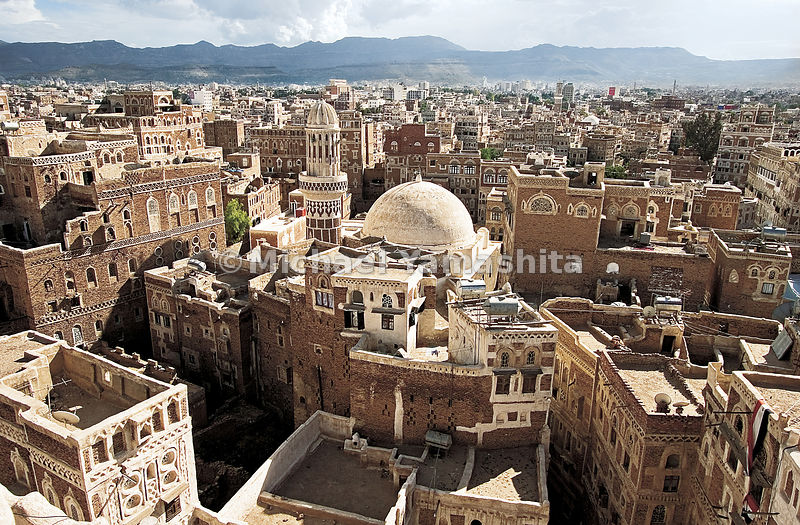 The 2000 year old capital of Yemen. Zheng He stopped here to trade for frankincense. The mud and brick architecture has changed little from his day.  Sanaa, Yemen