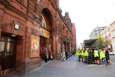 Men Unloading Heavy Equipment outside Kings Theatre Glasgow