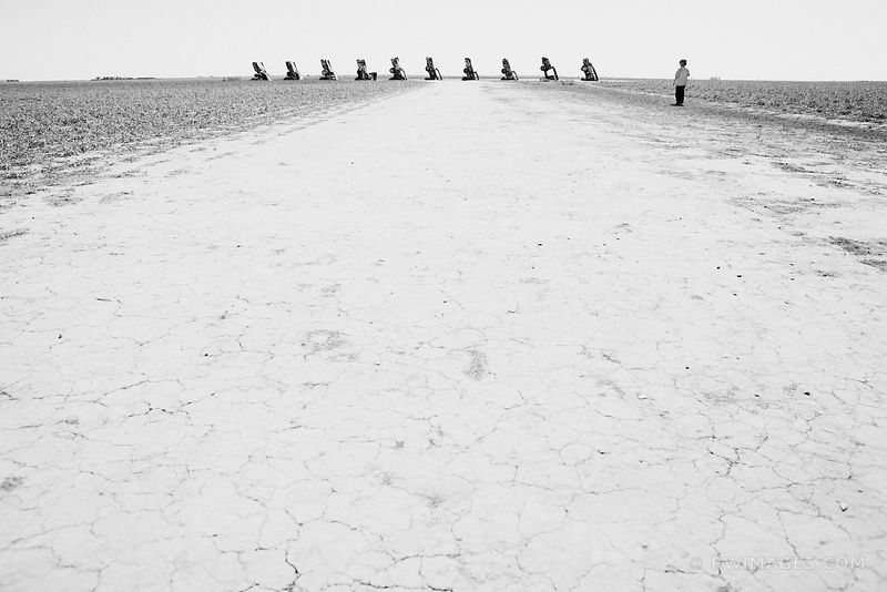 CADILLAC RANCH ROUTE 66 BLACK AND WHITE
