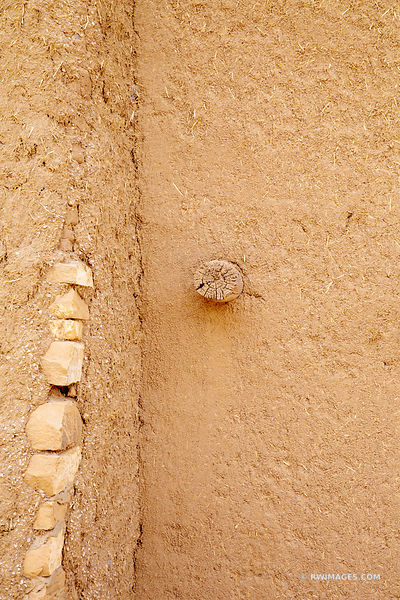 ADOBE WALL DETAIL NORTHERN NEW MEXICO COLOR VERTICAL