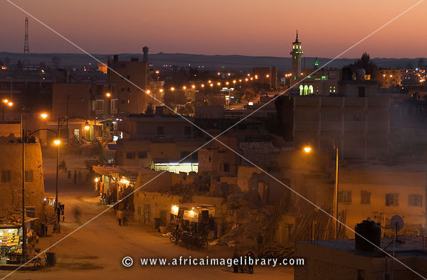 view over Siwa town at dusk, Siwa oasis, the Great Sand Sea, Western desert, Egypt