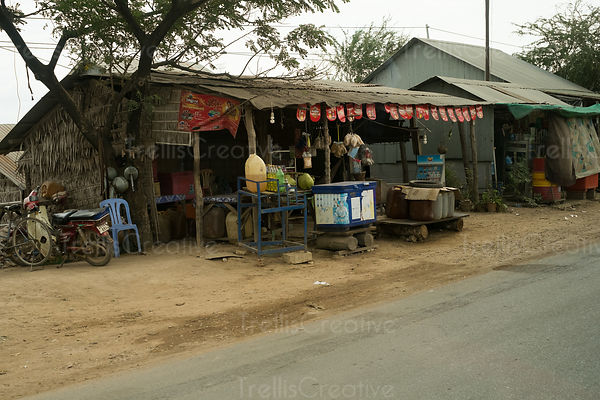 A makeshift petrol station along a road in Cambodia