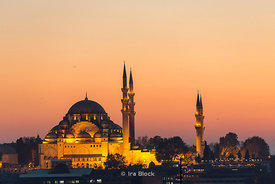 Sultan Ahmed Mosque or the Blue Mosque at sunset in Istanbul.