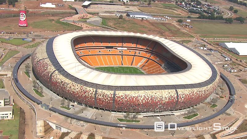 Aerial shot of Soccer City. Johannesburg Gauteng South Africa