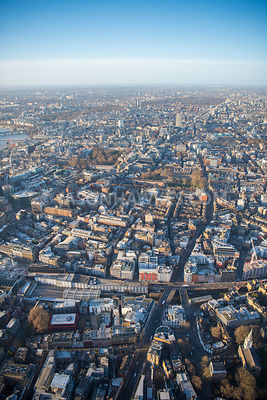 Aerial view of London, Farringdon towards Holborn and Lincoln Inn Fields.