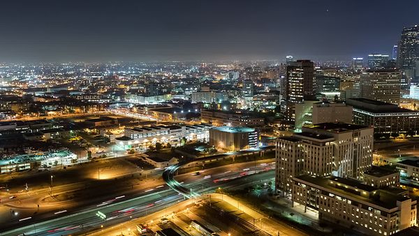 Bird's Eye: Panning A Major Freeway To Reveal L.A.'s City Hall & Skyline In Lights