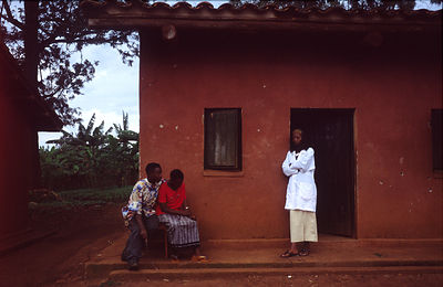 Rwanda - Kibileze - A young couple wait for their test at Kibayi health centre