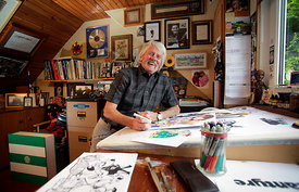 Waterside, Ayrshire..17.9.13.Scottish artist Malky McCormick pictured at home in Waterside, Ayrshire...Picture Copyright:.Iain McLean,.79 Earlspark Avenue,.Glasgow.G43 2HE.07901 604 365.photomclean@googlemail.com.www.iainmclean.com.All Rights Reserved.No Syndication