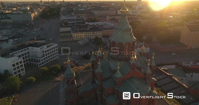 Helsinki City, Aerial Tilt View Away from Uspetski Cathedral Golden Cupole, Rin the City, on a Sunny Summer Evening Dusk, in Helsingfors, Uusimaa, Finland