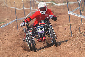 WHEELCHAIR RIDER MONT STE ANNE. GRUNDIG DOWNHILL WORLD CUP 1996