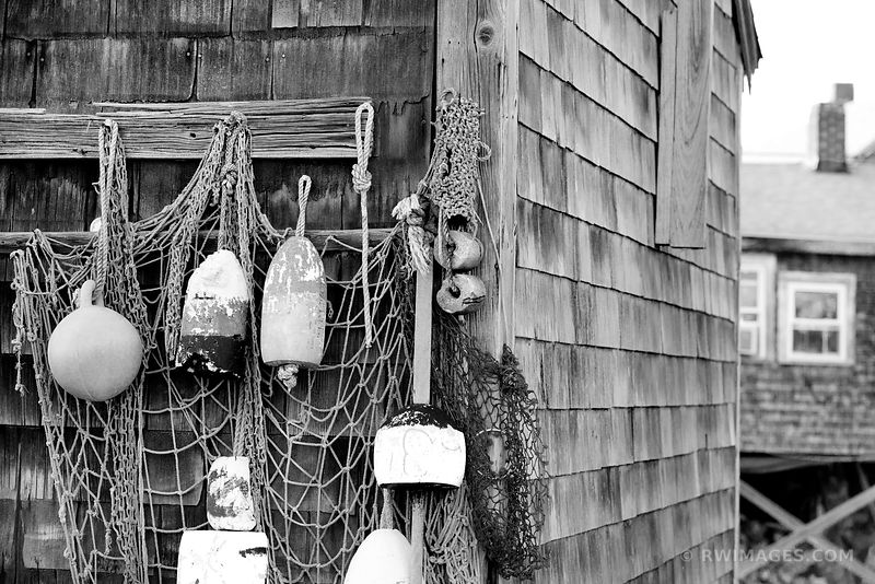 ROCKPORT FISHING VILLAGE CAPE ANN MASSACHUSETTS BLACK AND WHITE