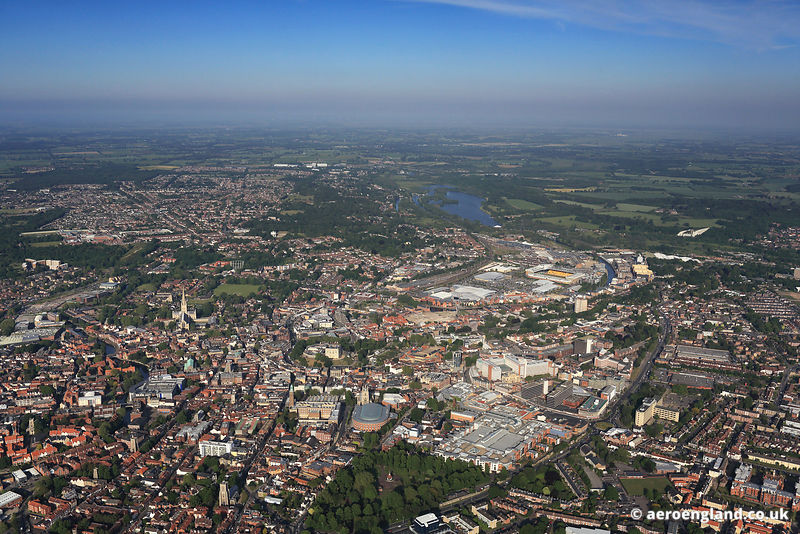 Panormaic aerial photograph of Norwich , Norfolk, England UK