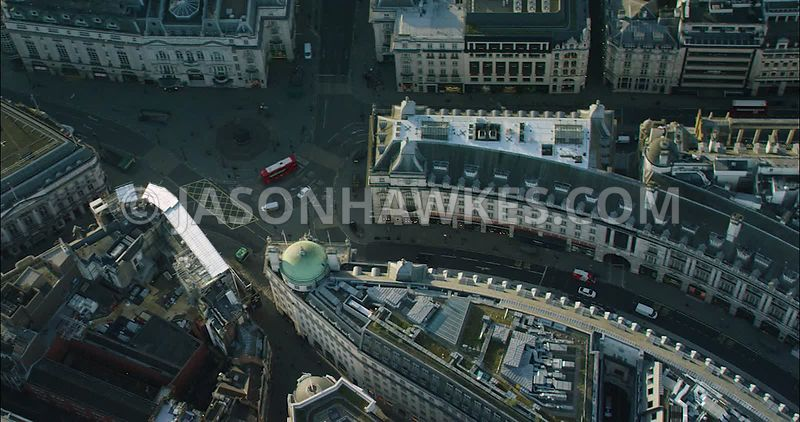 London Aerial Footage of Piccadilly Circus and Regent Street.