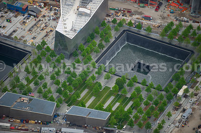 Looking down onto the The National September 11 Memorial & Museum, 911 Memorial, which commemorates the September 11 attacks of 2001