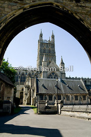 Gloucester Cathedral and the Infirmary Arches, Cathedral Precinct, Gloucester, Gloucestershire, England.