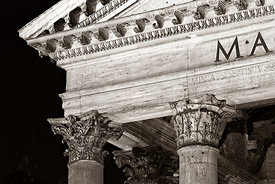 The Pantheon pediment at night, Rome