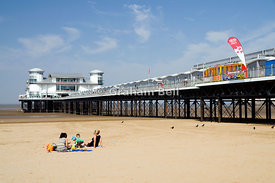 The Grand Pier and beach, Weston-Super-Mare, Somerset, England.