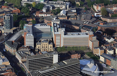 aerial photograph of Aviva, formerly Norwich Union Headquarters in Norwich Norfolk UK