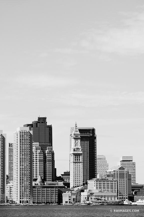 BOSTON SKYLINE BLACK AND WHITE VERTICAL